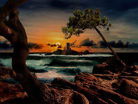 Island Gold, Dramont, Esterel, Var, Sunset, France