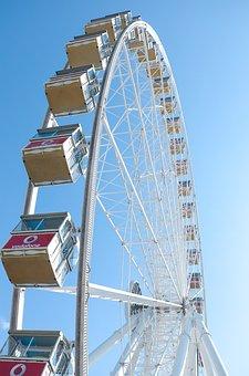 Ferris Wheel, Sun, Sky, Fair, Fairground, Summer