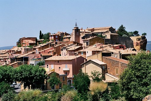 Roussillon, France, City View, Red Ochre
