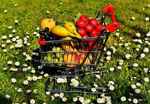 Shopping Cart, Healthy Shopping, Fruit, Vegetables