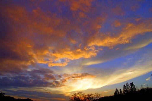 Sunset, Sky, Japan, Cloud, Light, At Dusk, Sun, Fuchu