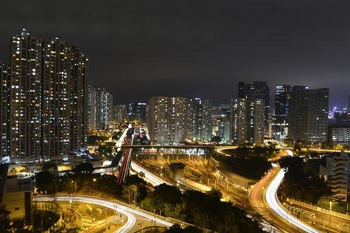 Hong Kong, Night, Light Rail, City, Cityscape, Kong