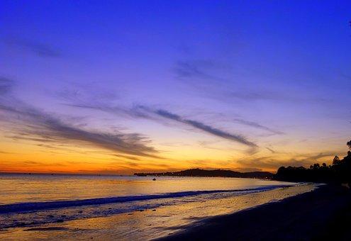 Los Angeles, Beach, Sunset, Santa Barbara, Sea, Light