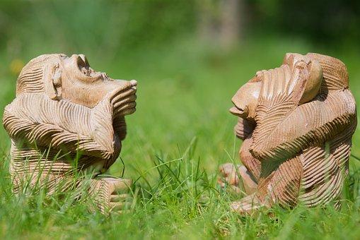 Monkey, Statue, Grass, Culture, Asia, Sculpture