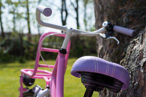 Girl, Bike, Pink, Parked, Bicycle, Cycle, Outdoor, Park