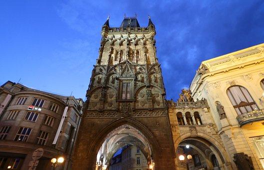 Prague, Powder Tower, Night, Tower, Architecture