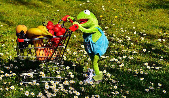Kermit, Shopping Cart, Healthy Shopping, Fruit