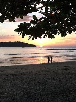 Sunset, Beach, Family, Panama, Coiba, Pacific, Sea
