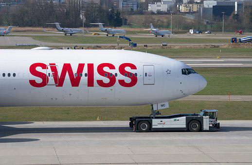 Swiss, Boeing 777, Aircraft, Tug, Boeing, 777