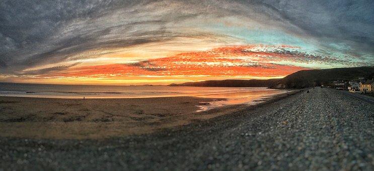 Newgale, Pembrokeshire, Beach, Sunset, Wales, Uk, Sea