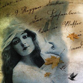 Vintage, Paper, Letter, Girl, Woman, Lady, Face