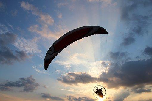 Motor Glider, Paraglider, Air Sports, Leisure, Blue