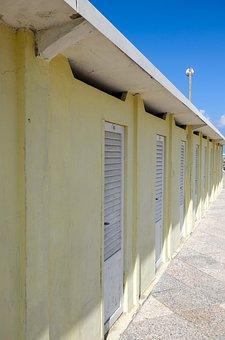 Locker, Cabins, Lamellar, Painted, Strandbad, Shutters