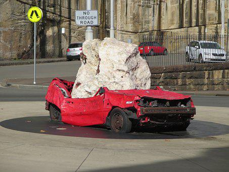 Car Crash, Stone, Hit, Accident, Broken, Damage, Rock