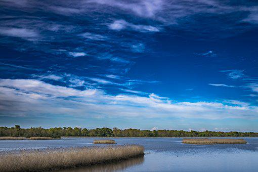 Pond, Reservoir, Sky, Clouds, Nature, Water, Lake, Blue