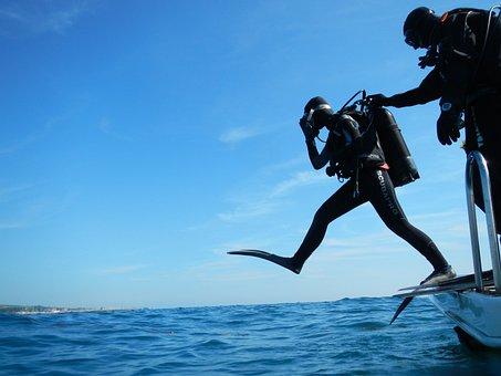 Sub, Diving, Scuba, Giant Step, Diver, Boat, Sea