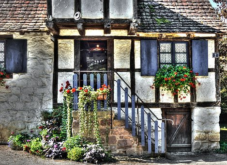 Half-timbered House, House, French