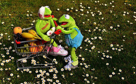 Shopping, Fruit, Healthy, Kermit, Frog, Shopping Cart