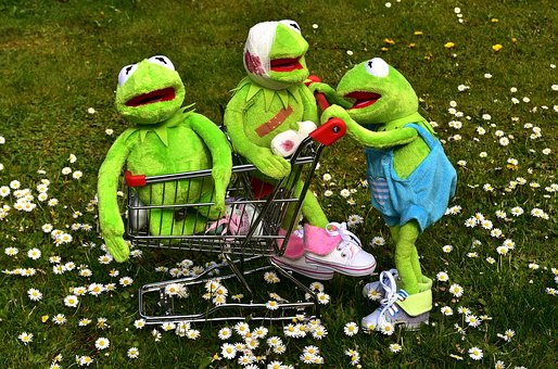 Kermit, Frog, Plush Toys, Shopping Cart, Toys, Play