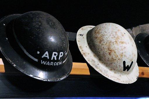 Air Raid Helmets, World War, History, Vintage, Military