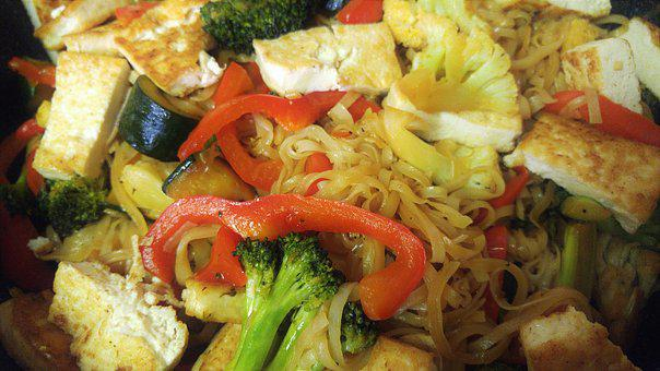 Noddles, Chinese, Food, Lunch, Vegetables, Dish