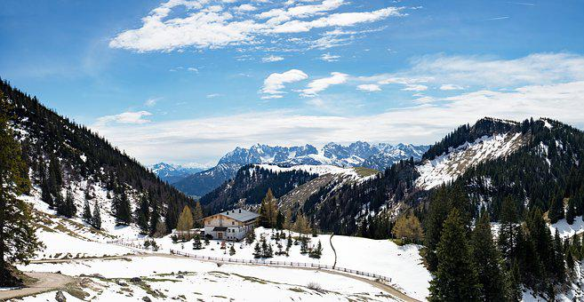 Alpine, Mountains, Panorama, Alm, Landscape, Snow