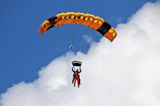 Paraglider, Air Sports, Bloated, Leisure, Blue