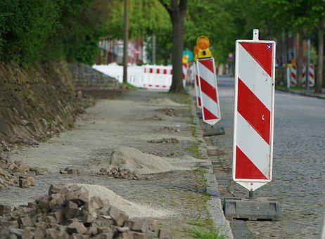 Site, Sidewalk, Away, Patch, Beacons, Paving Stones