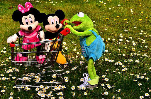 Kermit, Frog, Micky Mouse, Plush Toys, Shopping Cart