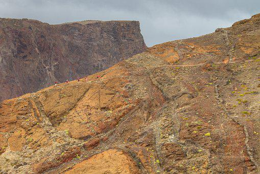 Wanderer, Trail, Rock, Shades Of Brown, Madeira