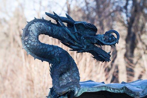 Dragon, Sculpture, Metal, Statue, Dragon's Head