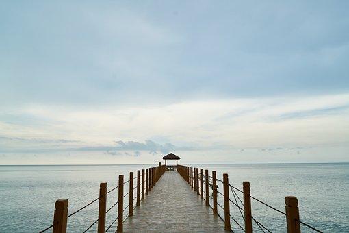 Landscape, Iskele, Bridge, Marine, Sky, Sunset, Beach