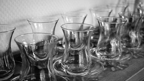 Teacup, Chai, Chaitasse, Glass, Saucer, Black And White