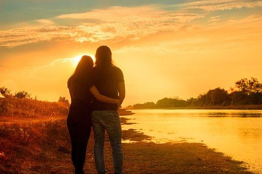 Love, Team, 2 People, Hug, Shoulder Rest, Sunset, Dawn