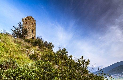 Tower Of Caprona, Landscape, Tuscany, Italy, Nature