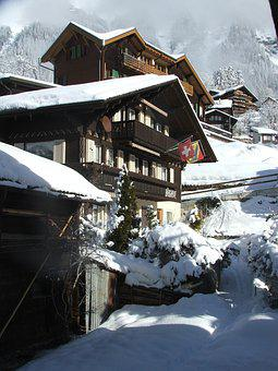 Swiss, Chalets, Traditional, Wengen, Alps, Switzerland