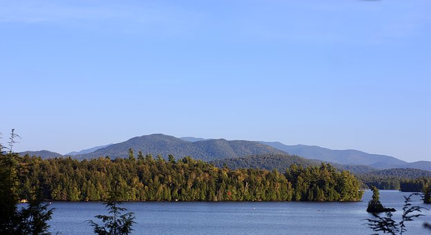 Lake, Mountains, Adirondacks, Forest, Woods, Trees