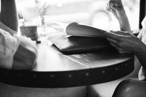 Activity, Adult, Black And White, Book, Break, Cafe