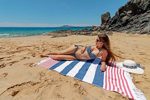 Lanzarote, Canary Islands, Bikini, Beach, Woman
