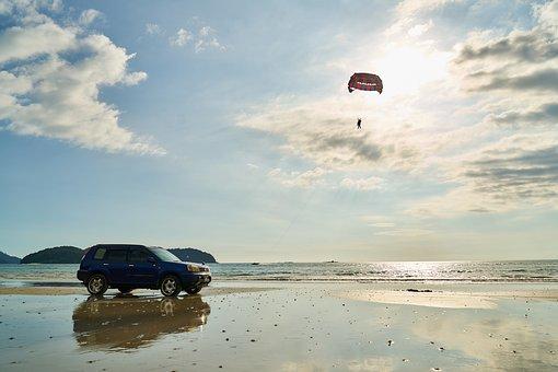 Car, Chip, Beach, Marine, Nature, Landscape, Sky, Solar