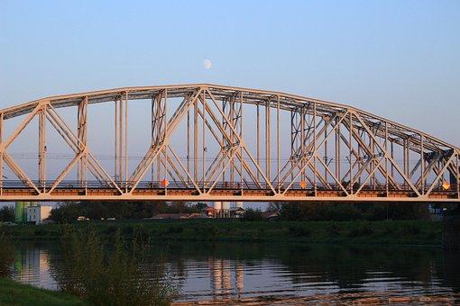 Kraków, Bridge, Moon, Wisla, River, City, Landscape