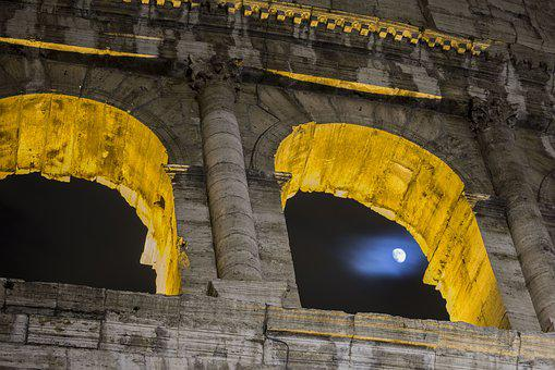 Colosseum, Night, Luna, Roman Coliseum, Ancient Rome