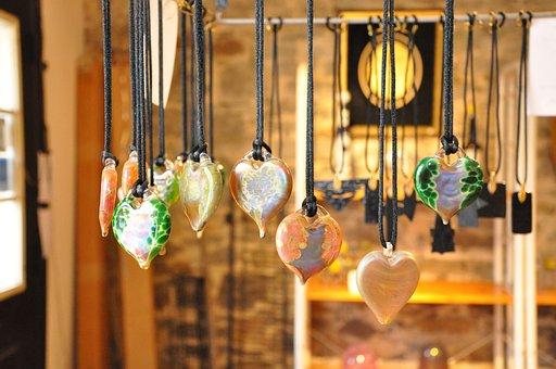 Glass, Hearts, Colour, Color, Love, Store, Pendants