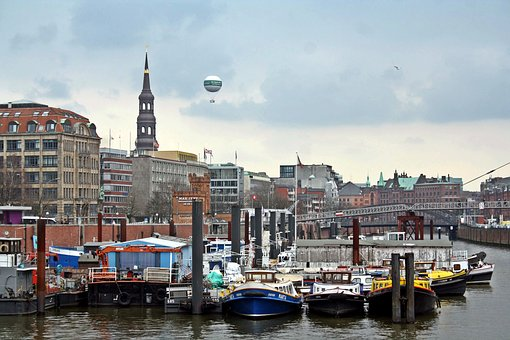 Hamburg, Port, Barges, Balloon, Elbe, Harbour Cruise