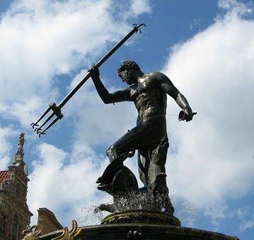 Neptune, Gdansk, Poland, Fountain, Architecture, Europe