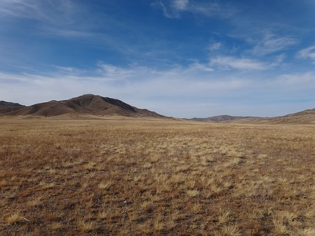 Mongolia, Asia, Wide, Sky, Hill, Grass, Steppe, Nature