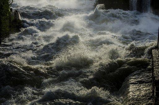 Waterfall, Hønefossen, Begna, Flood, Vårflom, Ironing