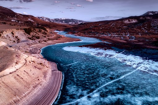 Colorado, River, Water, Frozen, Ice, Landscape