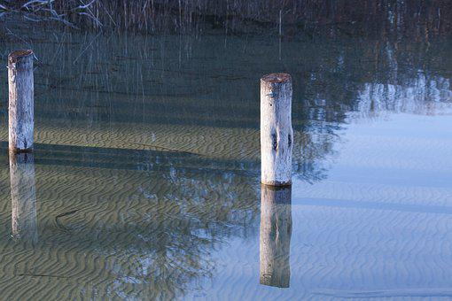 Lake, Pier, Water, Wooden Posts, Nature, Bank, Waters