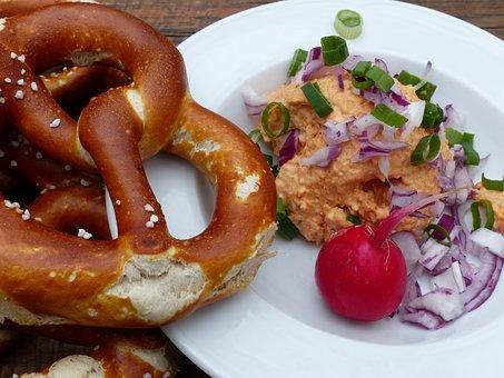 Pretzels, Obazda, Onions, Radischen, Bavaria, Snack